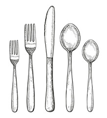 Set of cutlery vector. Spoon fork and knife hand drawing illustration