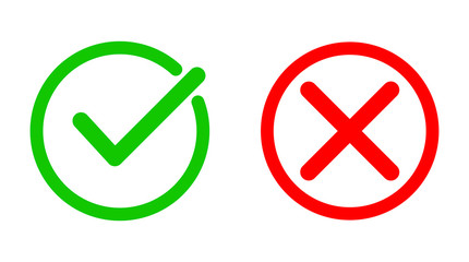 Green tick and red cross checkmarks. Vector illustration.