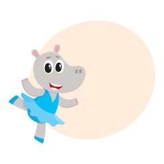 Happy cute little hippo character, ballet dancer in pointed shoes and tutu skirt, cartoon vector illustration with space for text. Little hippo baby animal, ballet dancer, ballerina in tutu