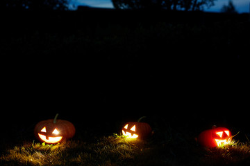 Group of traditional jack-o-lanterns glowing in the darkness