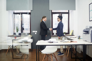 Fototapeta Profile view of young business partners shaking hands while standing at modern open plan office, they smiling at each other as sign of respect