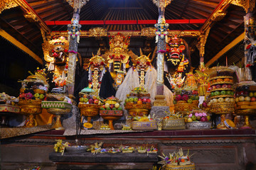 Bali, Indonesia - August 2017: The gifts to the God during Balinese local ceremony at the Temple