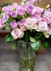 Wall Mural - Violet roses bouquet