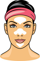 Female face with cleansing pore strips