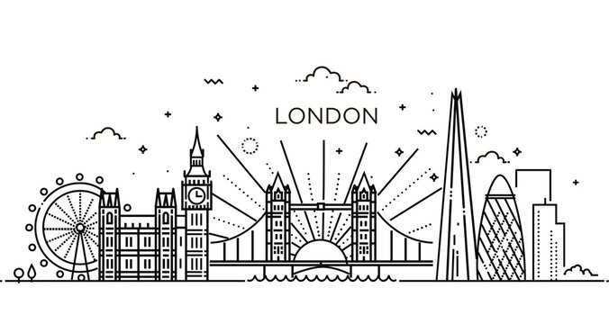 Linear banner of London city.