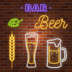 Retro neon Beer Bar sign on brick wall background.