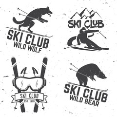 Vector ski club retro badge.