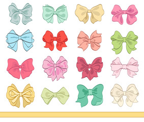 set of various color tied bows on white. cartoon vector illustration for Your design celebration greetings and invitations cards