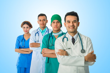 Team of doctor and nurse posing arms-crossed expressing positive emotions with stethoscopes. isolated on blue background.