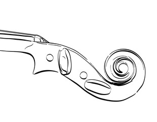 hand drawn violin neck illustration. vector contour drawing of part of musical instrument