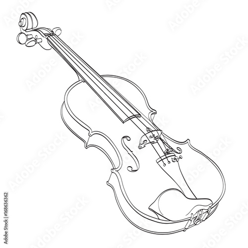Line Drawing Violin : Trumpet icon in outline style isolated on white background
