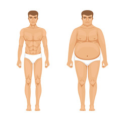 Visualization of weight loss. Muscular and fat man. Vector cartoon illustration of lifestyle