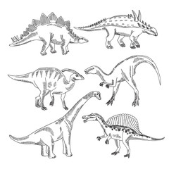 Stegosaurus, triceratops tyrannosaurus and other dinosaur types. Vector hand drawn pictures isolate