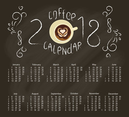 Calendar 2018 with Chalk lettering