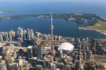 Wall Murals Toronto Toronto Skyline and Islands as Seen from Aerial Point of View