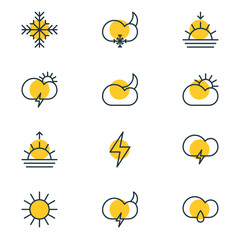 Vector Illustration Of 12 Sky Icons. Editable Pack Of Drizzles, Snow, Sunlight And Other Elements.