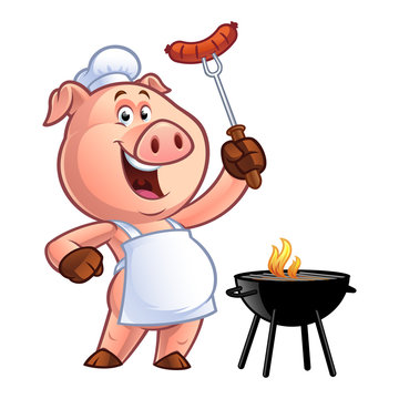 Pig chef holding a sausage on fork