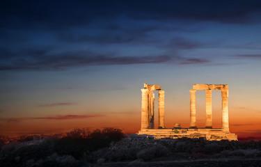 Der Tempel des Poseidon bei Nacht, Attika, Griechenland Fototapete