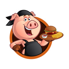Pig chef carrying a tray with a barbecue burger