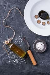 Truffle mushroom with oil and salt