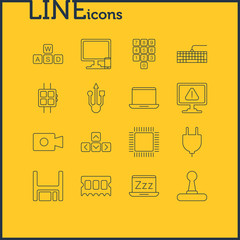 Vector Illustration Of 16 Computer Icons. Editable Pack Of Number Keypad, Laptop, Phone Near Computer And Other Elements.