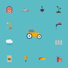 Flat Icons Sprout, Cloud, Farm Vehicle And Other Vector Elements. Set Of Agriculture Flat Icons Symbols Also Includes Warehouse, Wheat, Fence Objects.