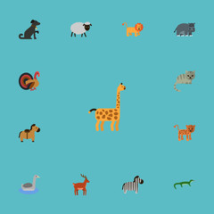 Flat Icons Kitty, Hound, Moose And Other Vector Elements. Set Of Zoo Flat Icons Symbols Also Includes Wildcat, Giraffe, Panther Objects.