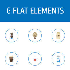 Flat Icons Seed Pack, Latte, Paper Box And Other Vector Elements. Set Of Beverage Flat Icons Symbols Also Includes Milk, Tree, Timber Objects.