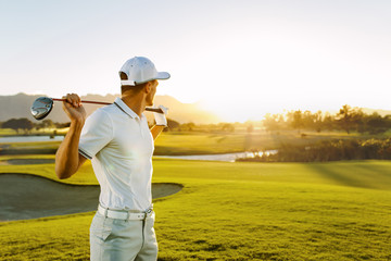 Poster Golf Professional golfer at golf course