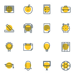 Vector Illustration Of 16 Science Icons. Editable Pack Of Trophy, Clock, Meter And Other Elements.