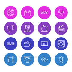 Vector Illustration Of 16 Cinema Icons. Editable Pack Of Megaphone, Television, Clapper And Other Elements.