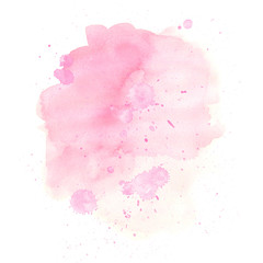 Abstract watercolor pink stain with paint splashes, hand drawn colorful pink beautiful illustration isolated on white background.