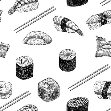 Hand drawn graphic sushi and rolls.