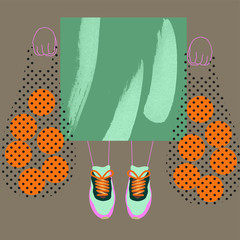 Illustration of woman carrying shopping bags with oranges