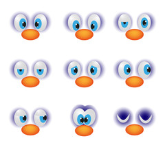 Funny cartoon faces with emotions happy eye character emoticon vector illustration.
