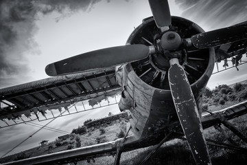 Fotobehang - Old airplane on field in black and white