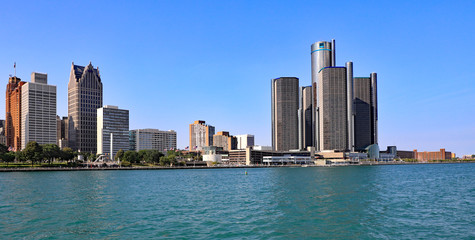 The skyline of downtown Detroit, Michigan/USA.