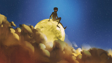 young boy sitting on the glowing moon behind clouds in night sky, digital art style, illustration painting
