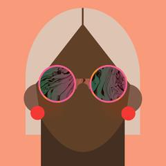 Woman with bob haircut wearing sunglasses
