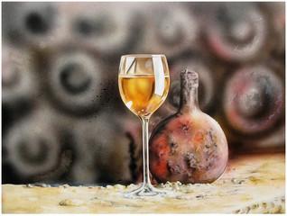 Weißweinglas mit Flasche