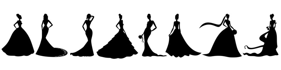 Silhouettes of brides