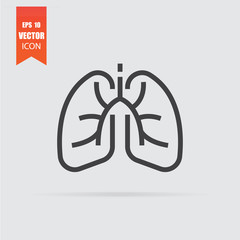 Lungs icon in flat style isolated on grey background.