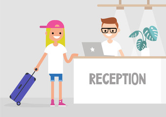 Check-in on a lobby counter in a hotel. Travel situation. Vacation. Flat editable vector illustration, clip art