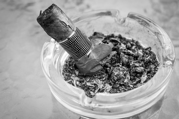 Extinguished Smoked Cigar in Round Glass Ashtray