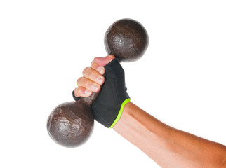 Male hand holding metal dumbbell on white background