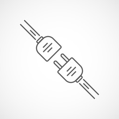 Wire plug and socket icon. Vector illustration.