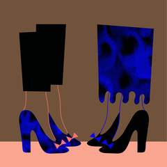 Ladies in high heals mingle at party