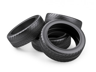 Pile of four new black tyres for car. Isolated on white background 3d image.