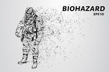 The biological hazard of particles. Man in protective suit consists of dots and circles.
