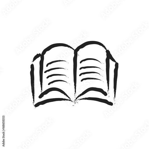 Open book vector sketch icon isolated on background  Hand